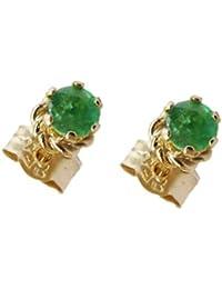 9ct Gelbgold Echter Smaragd Rund Ohrstecker, Geburtsstein Mai–Bezaubernde Eleganz