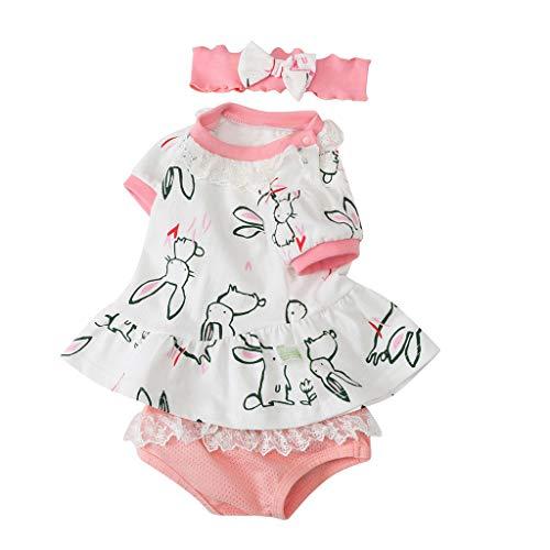 Baby Mädchen Jungen, Yanhoo Neugeborenes Baby Mädchen Häschen Oberteile + Shorts Set Anzug Kleidung Outfit Mädchen Kaninchen Kurzarm Slip Haarband 0-24 Monate