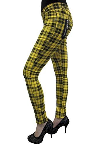 Nueva mujer Banned cuadros Emo Punk Skinny pantalones tamaño 26–40 multicolor amarillo 60