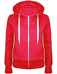 Oops Outlet Ladies Plain Hoody Girls Zip Top Womens Hoodies Sweatshirt Coat Jacket Plus Size 6-24