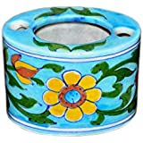 Om Craft Villa Blue Pottery Ceramic Bathroom Accessories- Toothbrush Holder for Bathroom Décor.