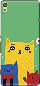 The Racoon Lean printed designer hard back mobile phone case cover for Sony Xperia XA. (Happy Cats)