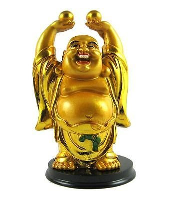 ASTROGHAR Laughing Buddha Lifting 2 Balls (4.5inch, Golden)