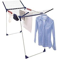 Leifheit Séchoir sur pied Pegasus 200 Solid Comfort, séchoir à linge grande surface d'étendage, étendoir à linge solide et étanche, 3 accessoires