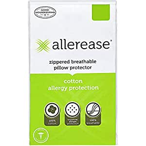 "AllerEase 100% Cotton Allergy Protection Pillow Protectors - Hypoallergenic, Zippered, Allergist Recommended, Prevent Collection of Dust Mites and Other Allergens, Queen Sized, 20"" x 30"" (Set of 2)"