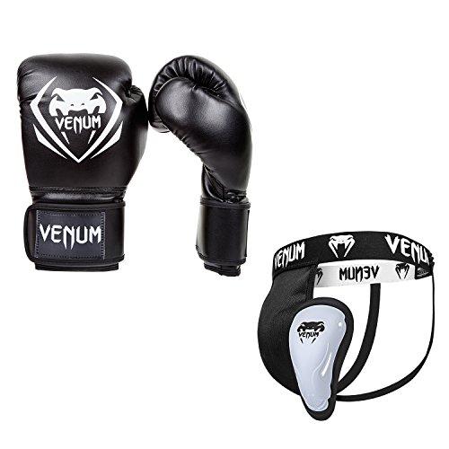 Venum Contender V.09 Boxset, Schwarz, Boxhandschuhe 12 oz + Tiefschutz M