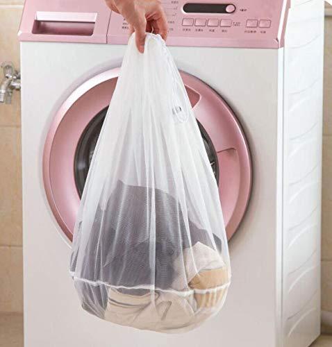 Wäschenetz, Wäschesack Wäschetasche Set Waschbeutel für empfindliches, Bluse, Strumpfwaren, BH, Unterwäsche, Socken, Kordelzug BH Unterwäsche Wäschesäcke (Weiß, L:44 * 48 cm)