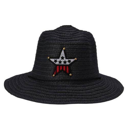 JTC Enfant Chapeau de Paille/de Soleil/ Cow-boy Etoile en Paille Tour de Tête:environ 55CM,10 Couleurs Noir