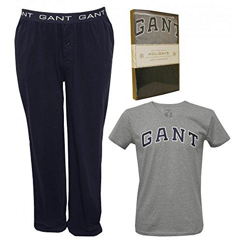 Imposta Gant Manica Corta T-shirt E Jersey Pantaloni Pigiama Da Uomo, Grigio/blu Grande