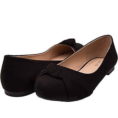 da9eb2e1e3 Luoika Women s Wide Width Flat Shoes - Comfortable Slip On Round Toe Ballet  Flats. (