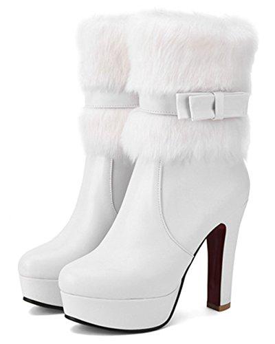YE Damen Winter High Heel Halbschaft Stiefel Plateau mit