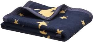 Julius Zöllner Couverture en coton/jacquard et ruban velours - Motif étoile - bleu marine - Taille: 75 x 100 cm