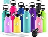 KollyKolla Vakuum-Isolierte Edelstahl Trinkflasche, 500ml BPA-frei Wasserflasche mit Filter, Thermosflasche für Kinder, Mädch