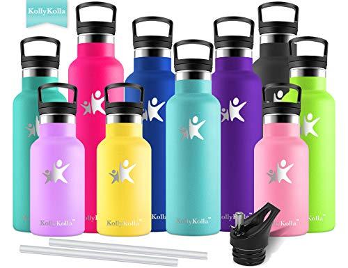 KollyKolla Vakuum-Isolierte Edelstahl Trinkflasche, 600ml BPA-frei Wasserflasche mit Filter, Thermosflasche für Kinder, Mädchen, Schule, Kindergarten, Sport, Wandern, Camping, Outdoor, Türkis