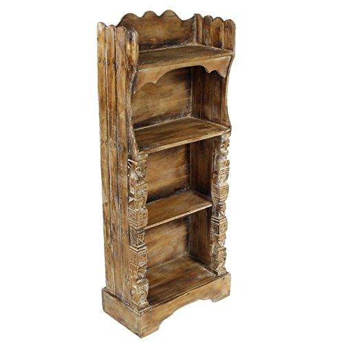 Oriental Galerie Regal Albesiaholz leichtes Bücherregal Standregal Holz Asien Shabby Chic Schnitzerei Braun 118 cm Antik-weiße Bücherregal