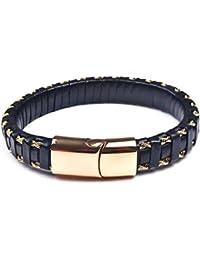 aa76d381587d OBSEDE Vintage Style Bracelet En Cuir Noir Collier Tressé Poignet En Alliage  8-8,