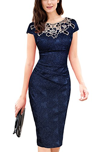 U8Vision Damen Elegant Rose Rundhals Spitze Stitching Kleid Business Etui Abendkleid Festkleid Cocktailkleid Marineblau Gr.XL