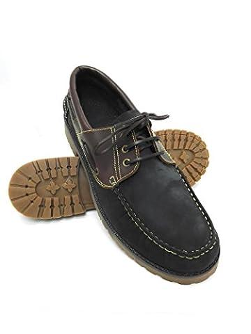 Zerimar Chaussure en cuir nautique avec semelle en caoutchouc flexible 100% cuir premium Marquage design de modeGrandes tailles XXL de 47 à