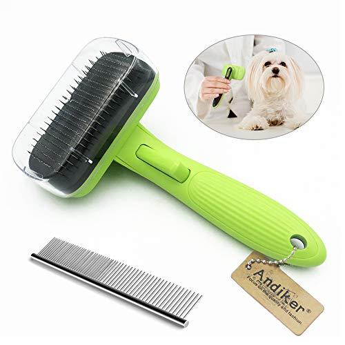 Andiker Brosse de toilettage pour chiens et chats, brosse auto-nettoyante, facile à nettoyer, réduit efficacement la perte de poils pour chiens et chats de petits, moyens et grands
