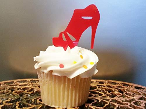 Cupcake-Topper mit hoher Ferse, Sandalen, Cupcake-Topper, Fashion Queen Cupcake-Dekoration, Shopping, Diva, Babyparty, Mädchen Geburtstag (Ferse Geburtstags-dekorationen Hohe)