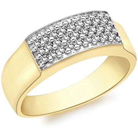In oro giallo 9 k con pavé di diamanti Anello rettangolare