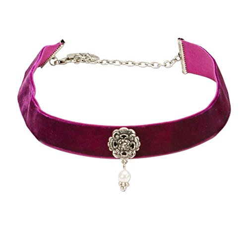 Alpenflüstern Trachten-Samt-Kropfband Frida mit Ornament und Perle - nostalgische Trachtenkette enganliegend, Kropfkette elastisch, Damen-Trachtenschmuck, Samtkropfband breit lila-violett DHK168