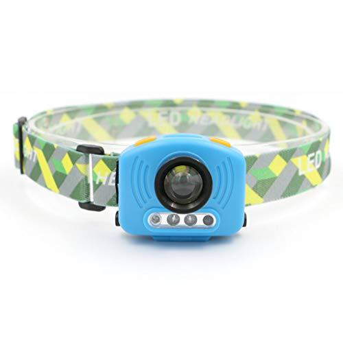 RMXMY Phares en Plastique d'éclairage extérieur à LED, randonnée, Camping, Course à Pied, Phare Multifonction Bleu à Induction