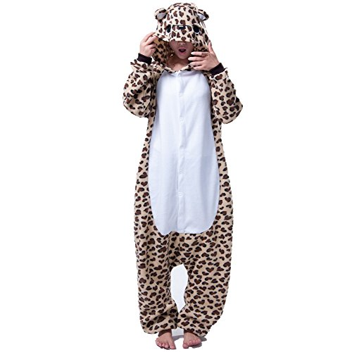 Colorfulworld Flanela Unicornio Pijamas Cartoon Animal Novedad Navidad Pijama Cosplay Pijamas (L, Leopardo)