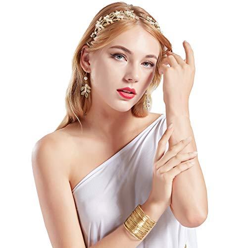 (Coucoland Athene Kostüm Zubehör Set Damen Blatt Stirnband Haarreif Perlen Ohrringe Gold Spule Armband Exotisch Damen Göttin Fasching Kostüm Accessoires)
