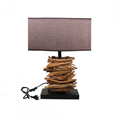 Charmanter Landhaus Tischleuchte 50 cm Hohe 19 - 6 Holz Nachttischlampen Schreibtischleuchte Schreibtischlampe Büroleuchte Lampe Antik Retro Leuchten Stehleuchte