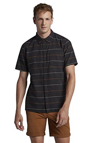 Hurley Men's AJ1855 Clifton Short Sleeve Shirt, Black Heather - Small -