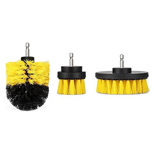 Symboat 3 Pcs/Set Drill Brush Kit Tub Cleaner Scrubber Cleaning Tool Brushes for Tile Grout Car Boat RV