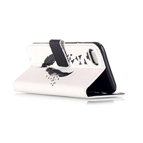 iPhone 7 Plus Coque, Apple iPhone 7 Plus Coque, Lifeturt [ Green Elephant ] Motif Pure Couleur Housse en Cuir Case à Avec La Fonction Stand Coque de Intérieure Protection Souple Coque Portefeuille TPU E2-Black Feather