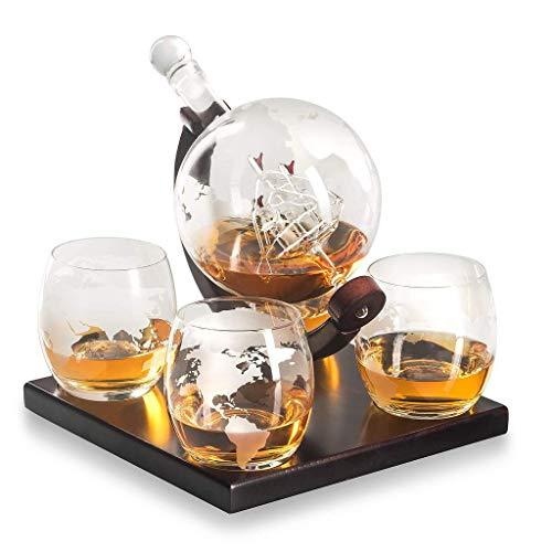 Namenlos Geätzte Globe Whisky Decanter Geschenkset-Gläser & Glasgetränk Getränkespender auch für Brandy Tequila Bourbon Scotch Rum -Alkohol Verwandte Geschenke für Papa Brandy Decanter