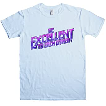 Mens Inspired By Bill N Ted T Shirt - Be Excellent To Each Other - Light blue - Small