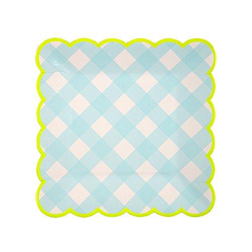 Meri Meri Teller, Gingham-Muster, klein, Blau -