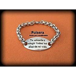 Pulsera de zamak con baño en plata con texto personalizado. Regalo día de los enamorados. San Valentin