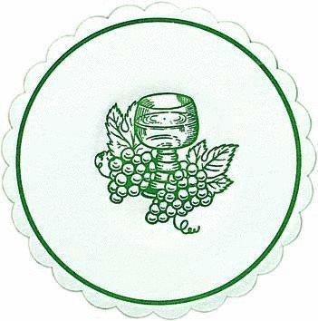 Untersetzer / Tassendeckchen 'Weinglas / Trauben' Jägergrün (10 cm / 8-lagig - 250 Stück)...