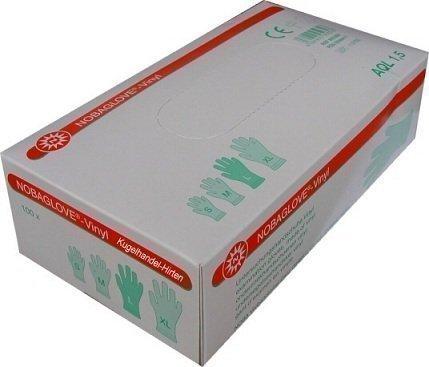 100 Stück Einmalhandschuhe NOBAGLOVE Vinyl Puderfrei Größe: Large ( groß )