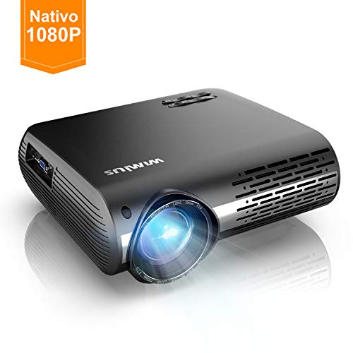 Proiettore APEMAN 3500 Lumen Mini Portatile Videoproiettore con Doppio Speaker Durata del LED fino a 50000 Ore di Cinema Domestico Compatibile con 1080P HDMI USB VGA SD Supporto Android IOS TV Box