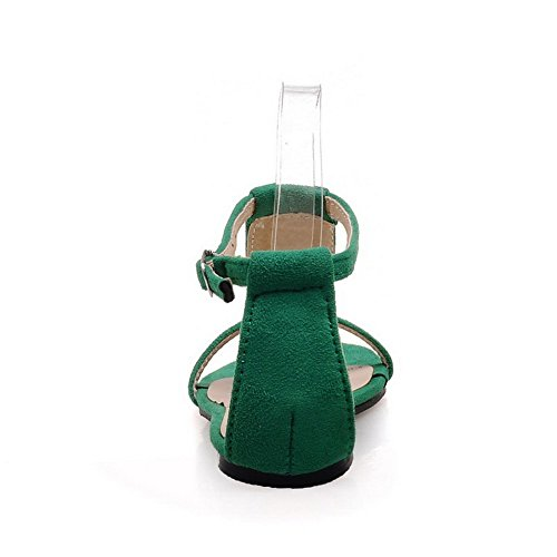 Odomolor Donna Pelle Di Mucca Chiodato Fibbia Senza Tacco Sandali Verde