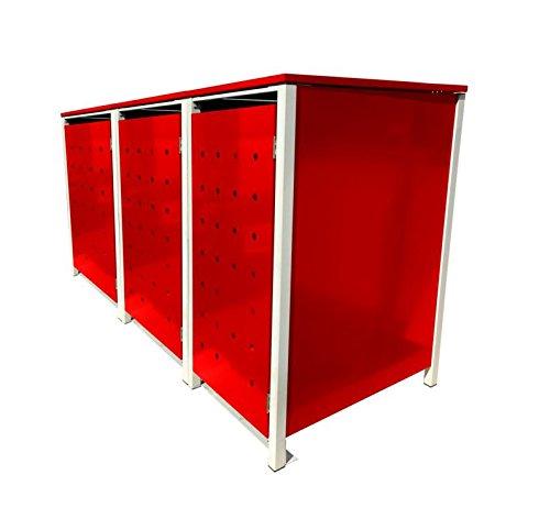 BBT@ | Hochwertige Mülltonnenbox für 3 Tonnen je 240 Liter mit Klappdeckel in Rot / Aus stabilem pulver-beschichtetem Metall / Ohne Stanzung / In verschiedenen Farben sowie mit unterschiedlichen Blech-Stanzungen erhältlich / Mülltonnenverkleidung Müllboxen Müllcontainer - 2