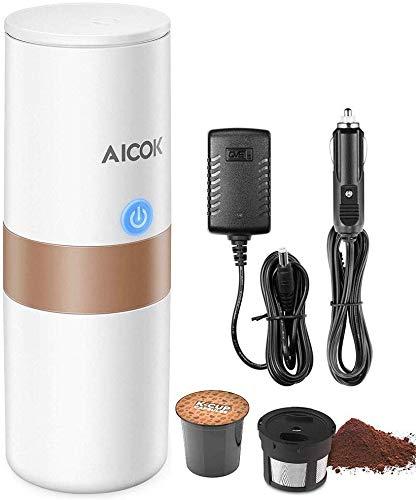 Aicok - Máquina de café portátil mini, cafetera eléctrica para café expreso con filtro (café molido/cápsula compatible) para coche, casa, oficina, camping, etc. (150 ml, blanco marfil)
