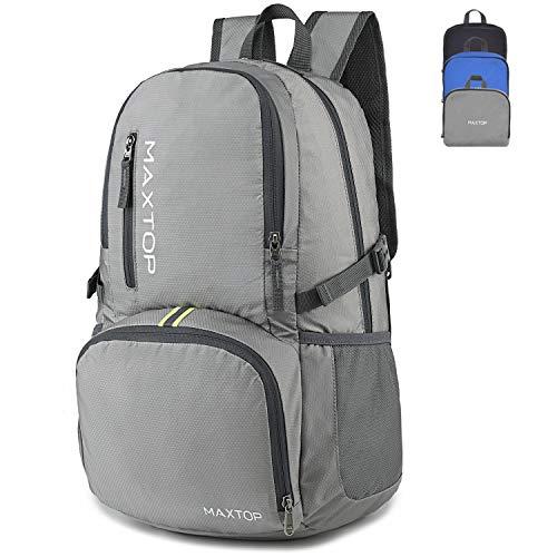 maxtop 35L Wanderrucksack wasserdicht Faltbarer Rucksack leicht für Männer Frauen Kinder Outdoor Rucksack zum Klettern, Camping, Reisen, Reiten (grau)