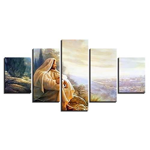 ZYBKOG Leinwandbild 5 Moderne Leinwand Wohnkultur Gemälde Wandkunst 5 Stücke Jesus Christus Bilder Wohnzimmer Hd Drucke Ruhm Gott Poster Rahmen