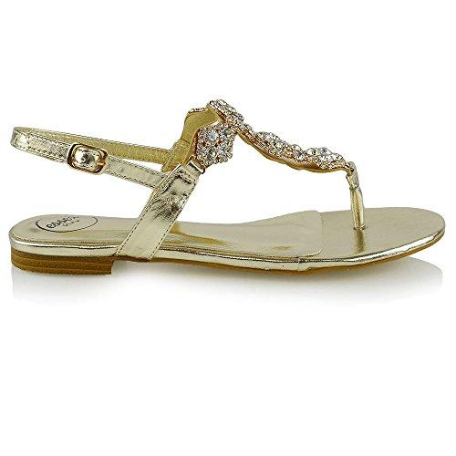 ESSEX GLAM Donna Slingback Punto di Punta Diamante Metallico Vacanza Sandalo Oro Metallico