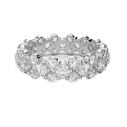 Anello impilabile in oro bianco con ghirlanda di diamanti da 2,10 carati e purezza f/si1 e oro bianco, 52 (16.6), colore: bianco, cod. cjolr0001.5