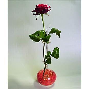 Rosenvase Einblumenvase Glas Lauscha Einschmelzung rot Vase für Rosen