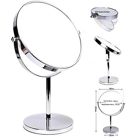 HIMRY® Espejo de Baño 8'' Aumento 10x para Afeitar y Maquillar, espejo de mesa con Doble Cara, Cosmética Espejo, con Doble Cara: 1x y 10x Ampliación, Rotación 360 Grados, 8 pulgadas, 20cm, Plateado, KXD3108-10x