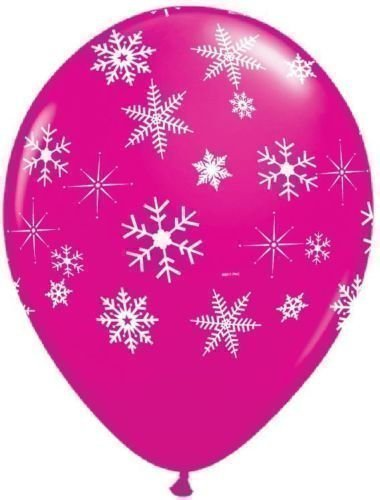 Schneeflocken & Glitzern Wildbeere Rosa 28cm QUALATEX Latex Ballons x 5 (Schneeflocken Latex)